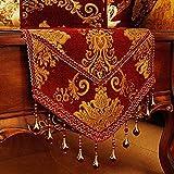 FADFAY Luxury Chenille Vintage Red Table Runner European Edinburgh Beaded Table Decoration 14'' 86.5''