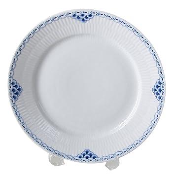 Frühstücksteller 22cm ROYAL COPENHAGEN Weiß Gerippt Kuchenteller NEU