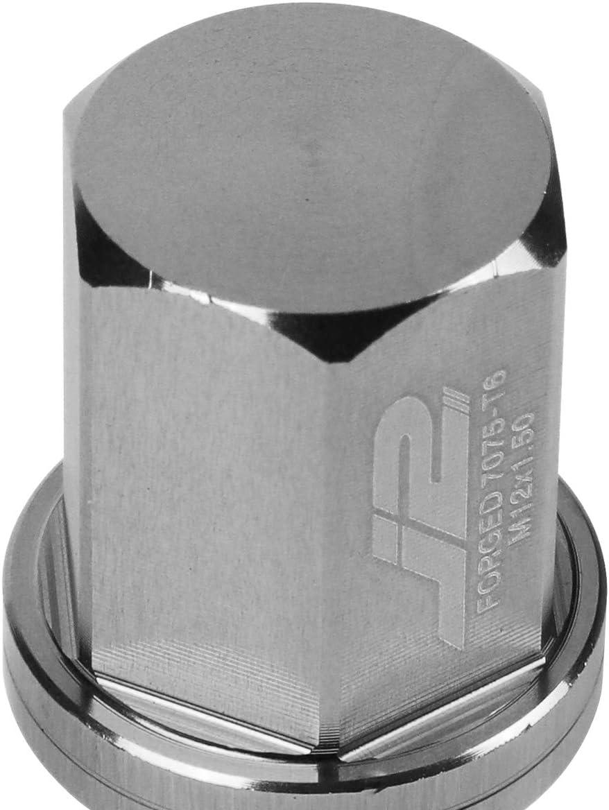 J2 Engineering LN-T7-006-15-BK Black 7075 Aluminum M12X1.5 20Pcs L 35mm Close End Lug Nut w//Socket Adapter