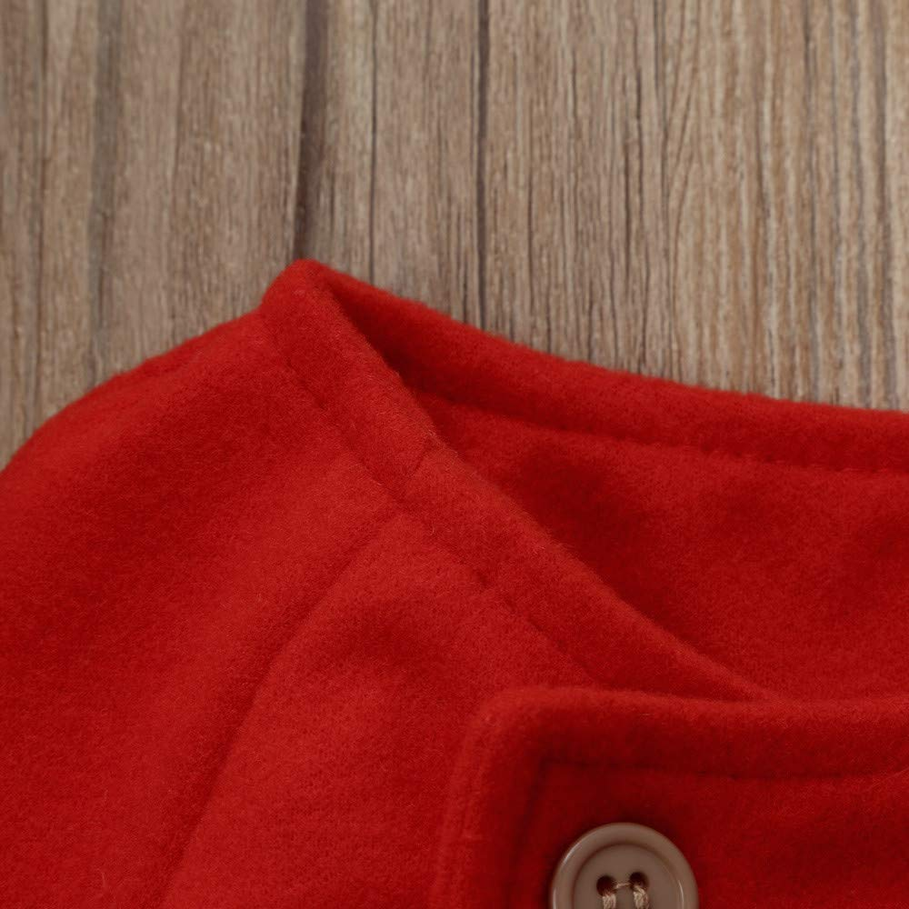 5 years old, Red Baby Girls Warm Coat Clothes Winter Outwear Long Cloak with Front Button Warm Jacket