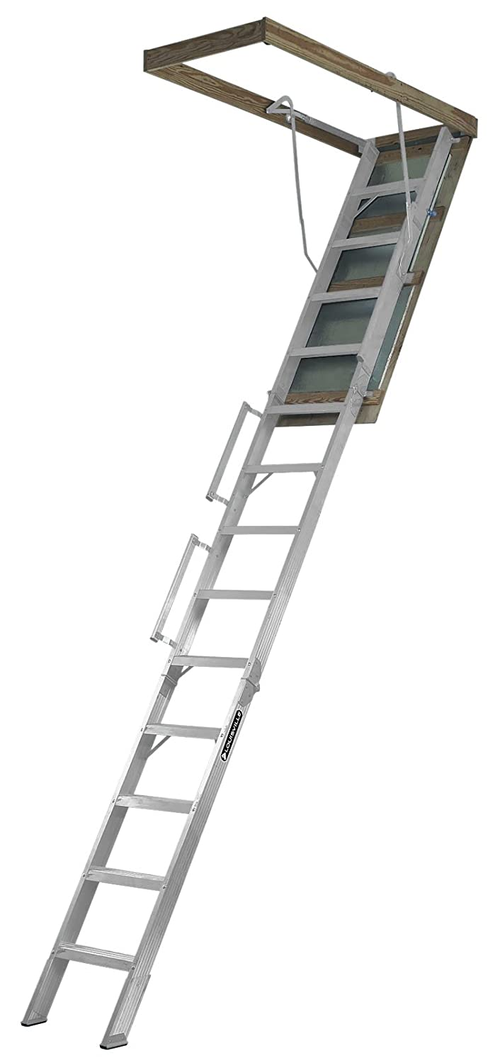 4. Louisville Ladder 22.5-Inch by 63-Inch Aluminum Attic Ladder, Fits 10' to 12' Ceiling Height, 350-Pound Capacity, AL228P