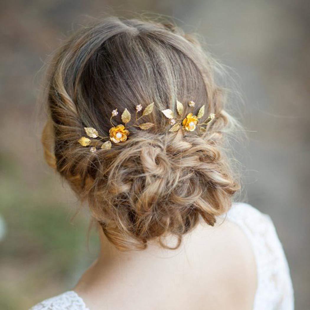 accesorios para el pelo para mujeres en bodas color dorado Horquillas de boda con cristales para novia fiestas o ocasiones informales Aukmla 2 unidades