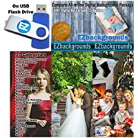 EZbackgrounds Complete All-In-One Digital Backgrounds Package on USB Flash Drive Memory Stick for Professional Photographers and Hobbyists