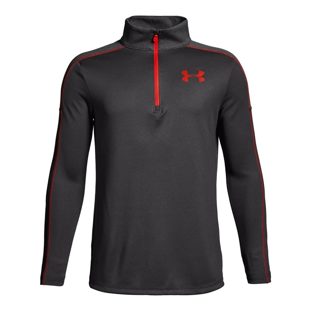 Under Armour Boys Tech 1/2 Zip, Charcoal (019)/Radio Red, Youth X-Small