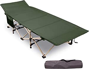 "REDCAMP Folding Camping Cots for Adults Heavy Duty, 28"" - 33"" Extra Wide Sturdy Portable Sleeping Cot for Camp Office Use, Blue Gray Green"