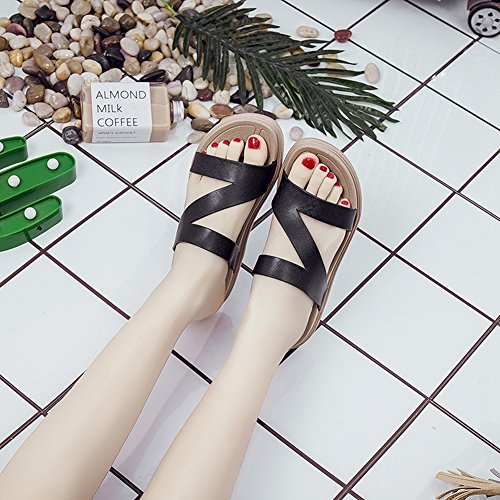 Casual Slides Summer Flip Slipper Women Flops Beach ZHOUZJ Shoes Black Cork Solid vqwFdnzH