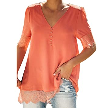38d8d85cbe7f4c Amazon.com : Jiayit Fashion Womens Silk Camisole Top Short Sleeve Lace  Splice Button V-neck Blouse Casual Five-point Sleeve Tops : Beauty