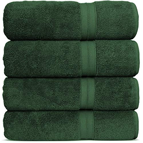 Luxury Premium Turkish Cotton 4-Piece Bath Towels, Long-Stable 20/2, 2 Ply Turkish Ring-Spun Cotton Yarn Makes The Luxe-Factor, Eco-Friendly, (Moss)