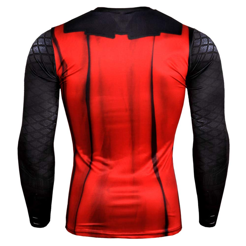 Long Sleeve Red Ironman Dri-fit Shirt Quick Dry Compression Workouts Tee