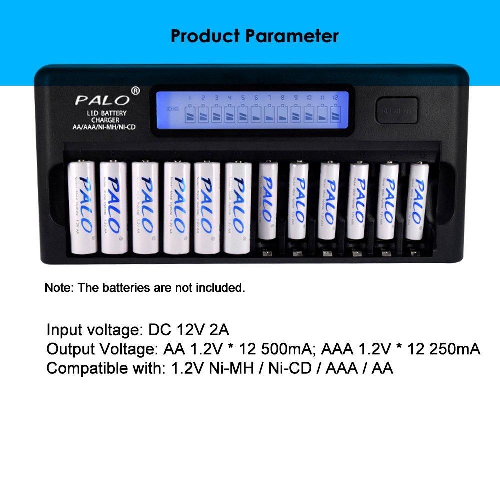 Docooler PALO PL-NC30 Cargador de Bater/ía Inteligente Universal Pantalla LCD de 4 Pulgadas Cargador Inteligente Speedy con 12 Ranuras para Bater/ía 1.2V Ni-MH Ni-CD Pilas AAA AA Enchufe de la UE