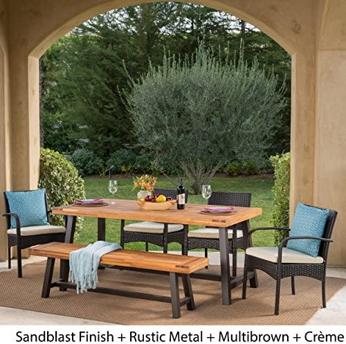 Christopher Knight Home Luster Outdoor Rustic Iron and Acacia Wood Dining Set