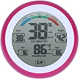 Temperature Humidity Meter,AWAkingdemi TS-S93 Round LCD Touchscreen Thermometer Humidity Monitor Hygrometer (Pink)