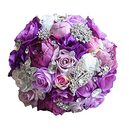 Abbie Home Bride Rose Bouquet - Lavender Rose Peony Purple Theme Wedding Flowers with Crystal Rhinestone Jewelry Decoration (Lavender Bouquet Rose)