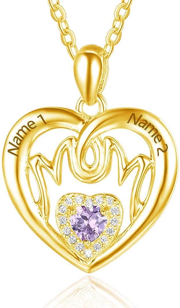 Collar de Piedra de Nacimiento con Nombre Personalizado - Colgante de joyería de Novedad en Plata esterlina - Ideas de Regalo de cumpleaños para su Mejor Regalo para mamá