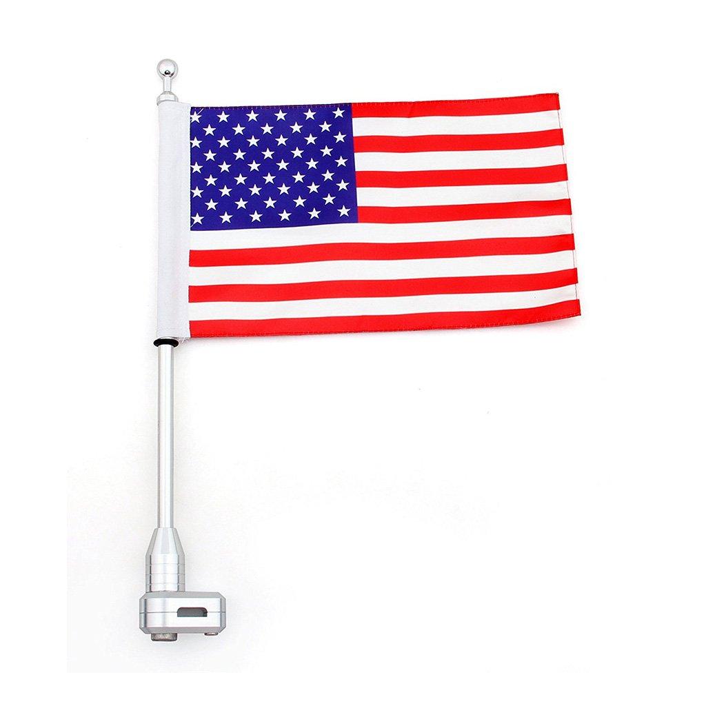 Má stil para bandera de motocicleta equipaje accesorio de vertical americano para Honda Goldwing GL1800 2001 –  2012 (con soporte de poste de bandera de Estados Unidos) FO0003