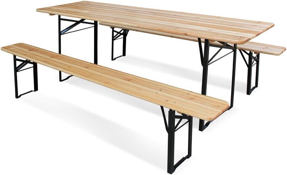 Juego de mesa y 2 bancos de madera plegable, de 220 x 70 x 76 cm ...