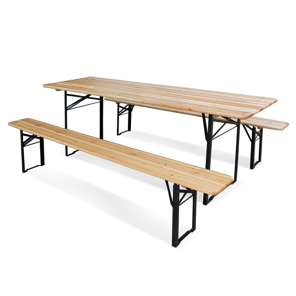 Juego de mesa y 2 bancos de madera plegable, de 220 x 70 x ...