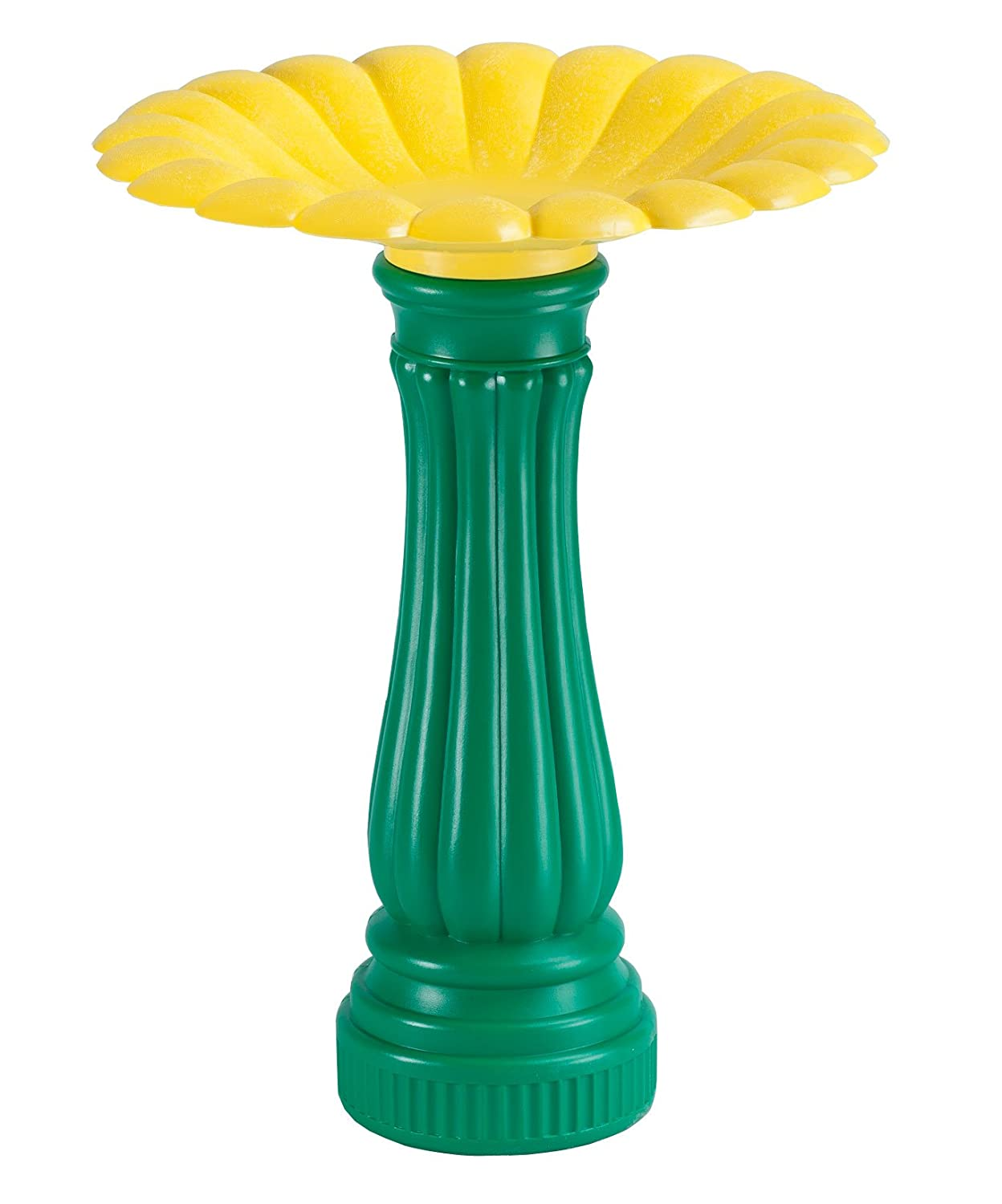 Miles Kimball Daisy Bird Bath, One Size Fits All, Green and Yellow