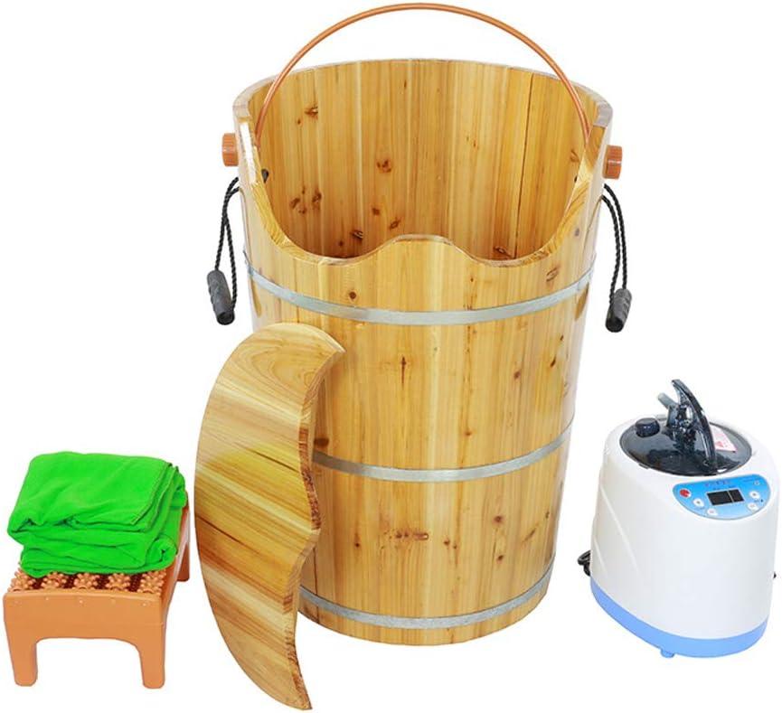 家庭用純木材大人用燻蒸バケツフットバスマッサージフットバスペディキュアスチームウッド蒸しバケツ60cmフット浴槽