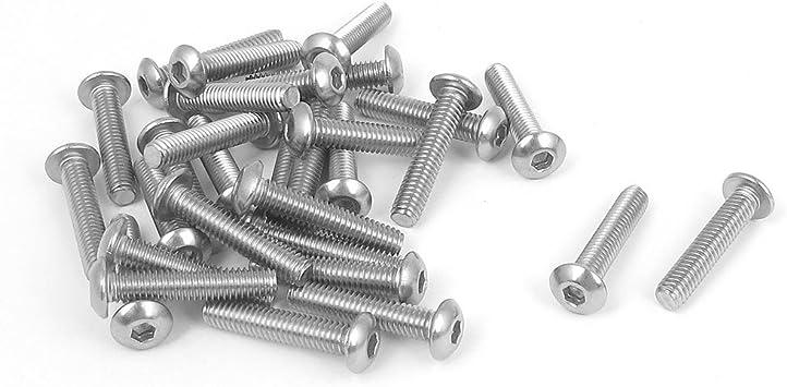 30 Pcs 20mm Long Stainless Steel Countersunk Head Socket Cap Screws Thread M3