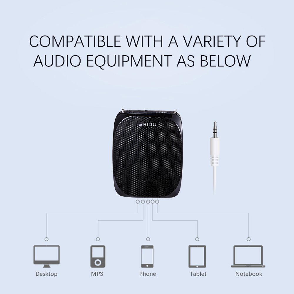 Portable Voice Amplifier Pa system loud speaker with 1800mAh Rechargable Lithium Battery , Wired headset Microphone Waist Support Suitable for Tour Guides, Teachers, Coaches, Presentations, Costumes by SHIDU (Image #8)