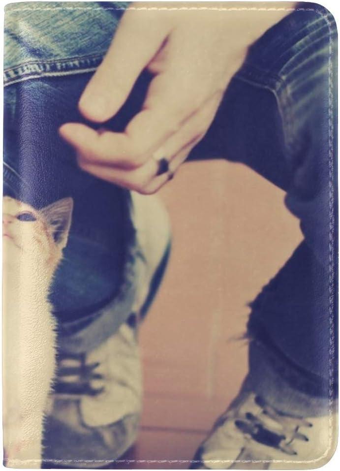 Kitten Man Hands Tenderness Leather Passport Holder Cover Case Travel One Pocket