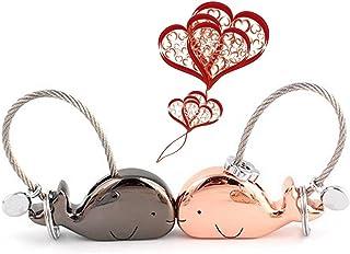 Topeedy 1 Pair Porte-clés Kissing Whale Keychain with Magnetic Mouth Zinc Alloy Lover Clés Anneaux. cadeau pour mariage, Noël, valentines, anniversaire petit ami, petite amie, or rose + noir brillant