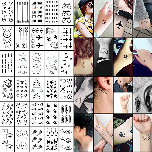 Oottati 30 Sheets Small Cute Temporary Tattoos Kit - Black Foot Print Camera Elephant Star Diamond Cross Bird Cat for Kids Women Men -