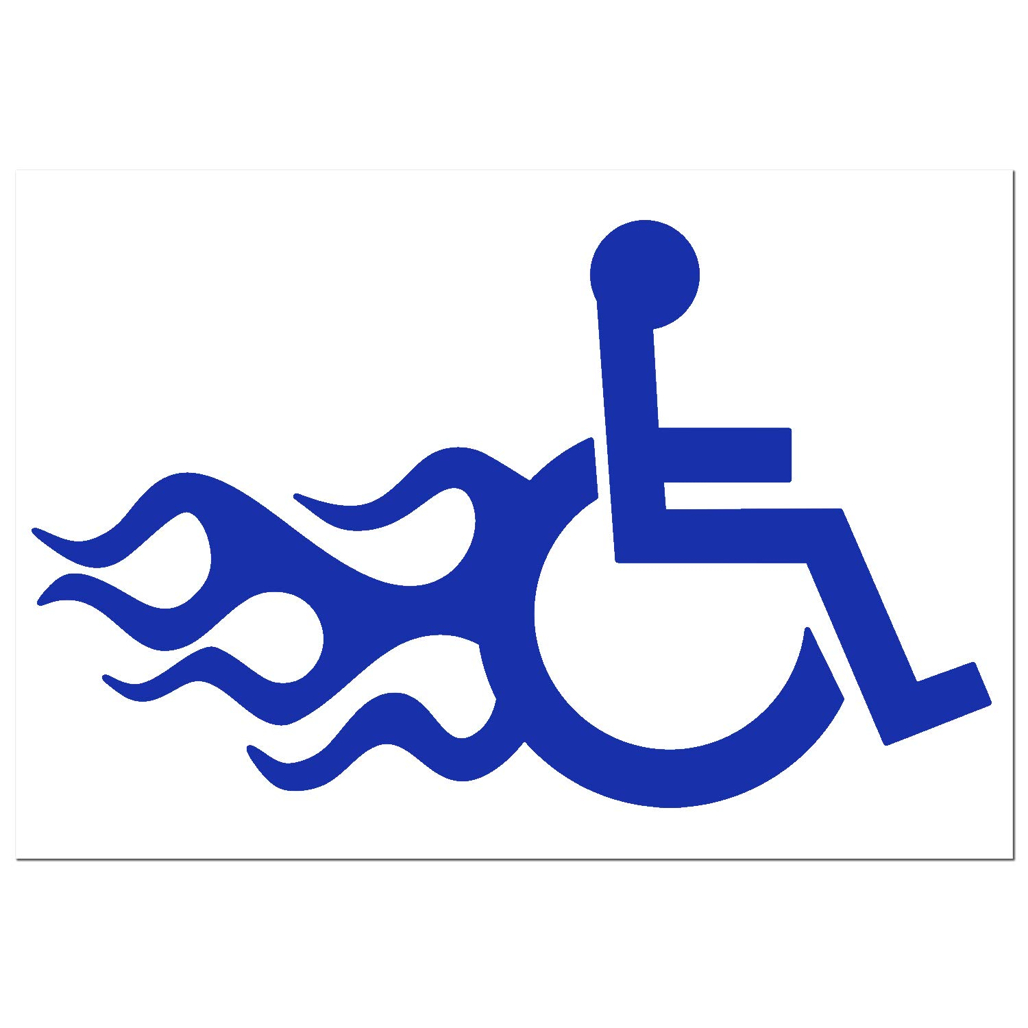New Style Wheelchair In Motion Logo with Fire Disabled Symbol Sign Handicapped Decal Sticker Many Colors and Sizes to Choose From