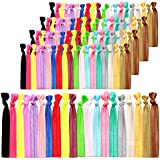 Syleia 100 Hair Ties - Bright and Pastel Colors - Elastic Ponytail Holders No Crease Hand Knotted Fold Over Assorted 100 Pack