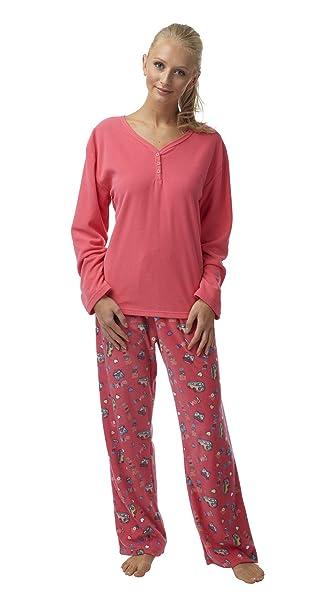 Señoras Regalo Pack Furgoneta forro polar pijama. Coral o azul. Tamaños 8 – 10