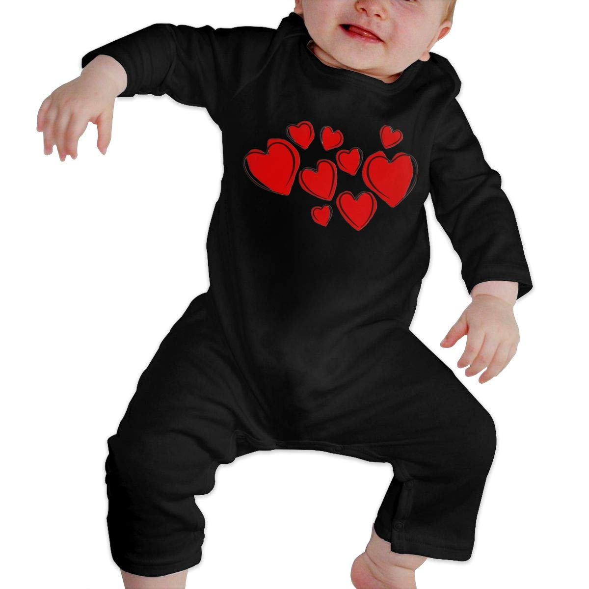 Valentines Day Hearts Pattern Newborn Baby Boy Girl Romper Jumpsuit Long Sleeve Bodysuit Overalls Outfits Clothes