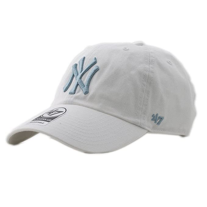 47 brand Cappellino Mlb New York Yankees Clean Up Curved V Relax Fit  bianco blu formato  Regolabile  Amazon.it  Abbigliamento c98d226dd0b1