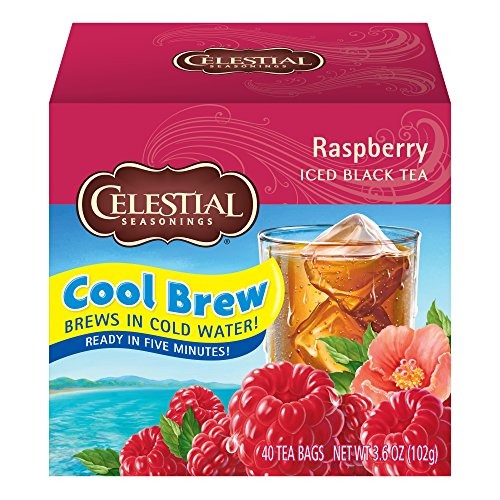 Celestial Seasonings Cool Brew Iced Tea, Raspberry, 40 Count Box (Pack of 6)