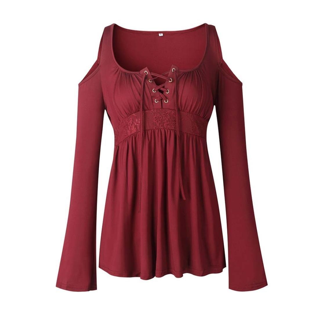 SANFASHION Femme T-Shirt Doux Blouse Noir Tee Tops Manches Court en Dentelle julie