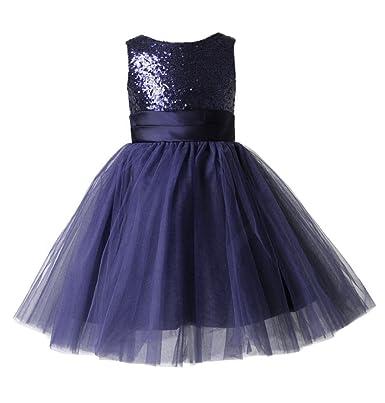 5d756d6bb thstylee Girl's Sequin Tulle Flower Girl Dress Junior Bridesmaid Dress Size  US 14 Navy Blue