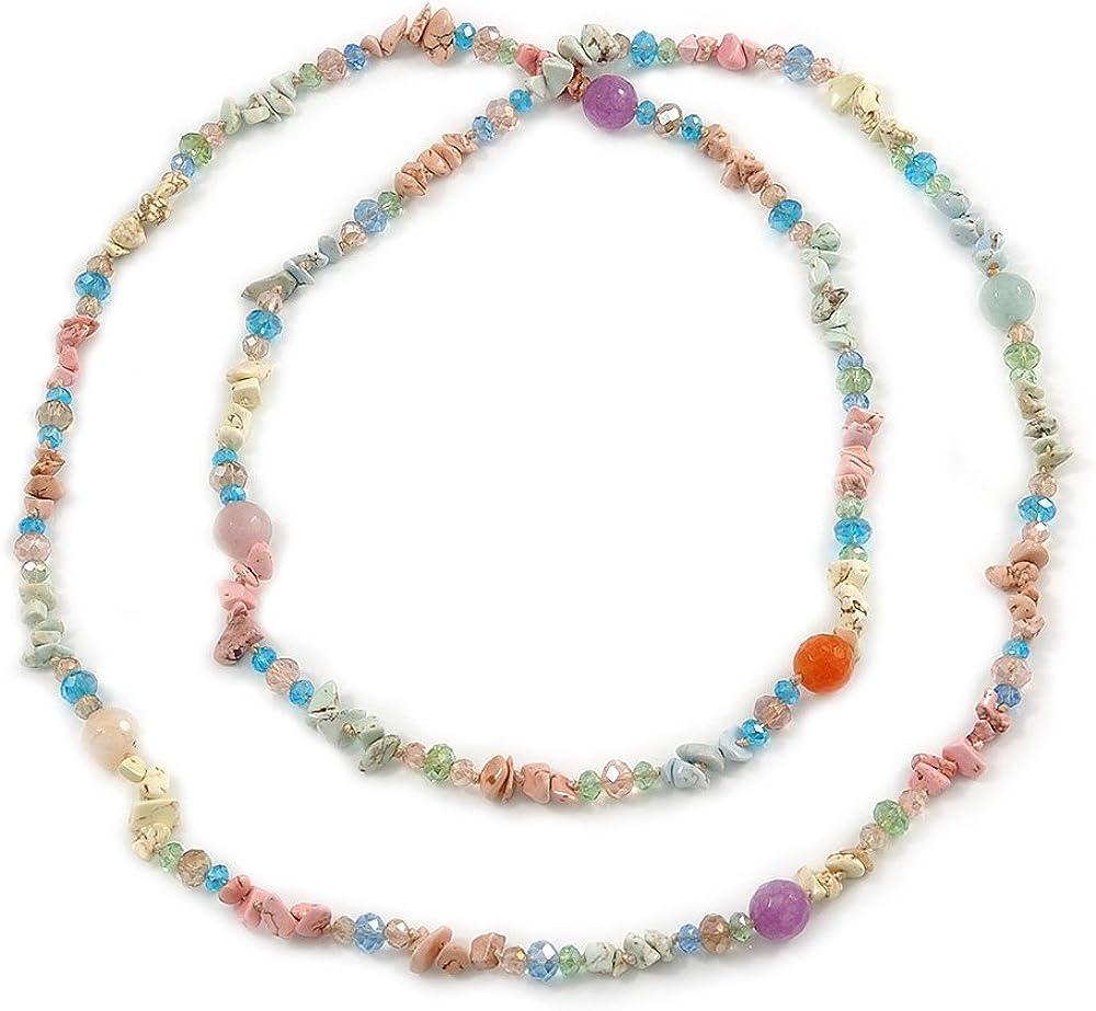 Collar largo con cuentas de cristal de ágata y cristal, multicolor, 120 cm de largo