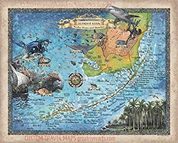 Florida Keys Map Of Beaches.Amazon Com Scuba Dives And Beaches Of The Florida Keys Scuba Diver