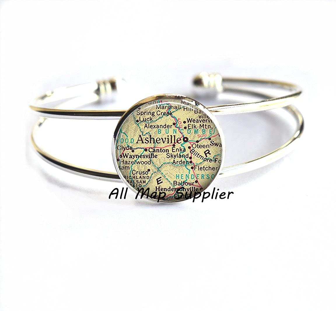 Asheville map Bracelets Asheville Bracelets,A0059 North Carolina map Bracelet Charming Bracelet Asheville map jewelry Asheville Bracelet