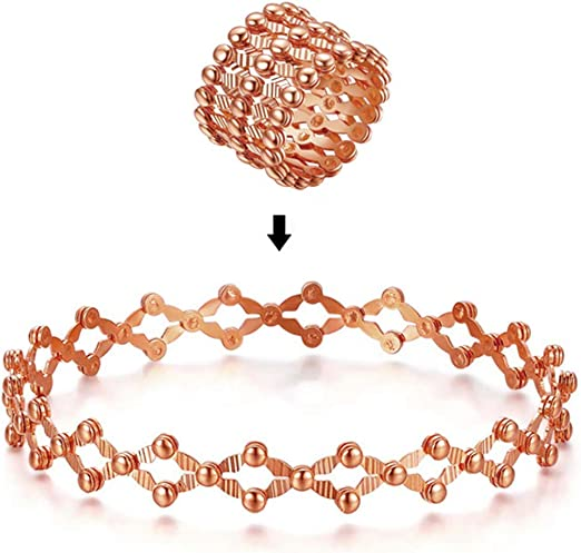Frauen Armband Fingerringe Herz Retractable Transforming Ring Armband 2-in-1