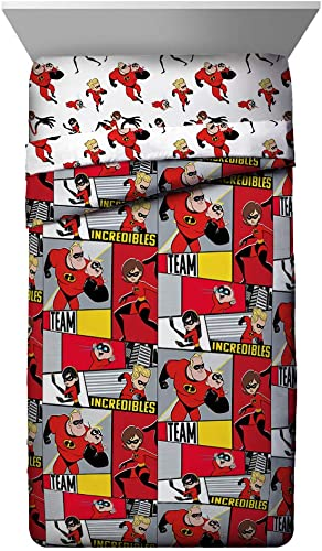 Jay Franco Disney Pixar Incredibles Super Family Twin Comforter – Super Soft Kids Reversible Bedding – Fade Resistant Polyester Microfiber Fill Official Disney Pixar Product
