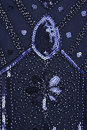 PrettyGuide Mujeres 1920 V Cuello Con Cuentas Lentejuelas Art Déco Inspiró Gatsby Vestido de Charnela Armada