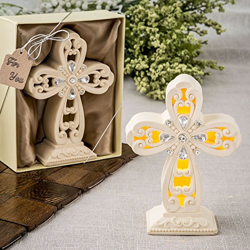 113 Glowing Ivory Color Standing Cross Statues w/ Led Light by Fashioncraft