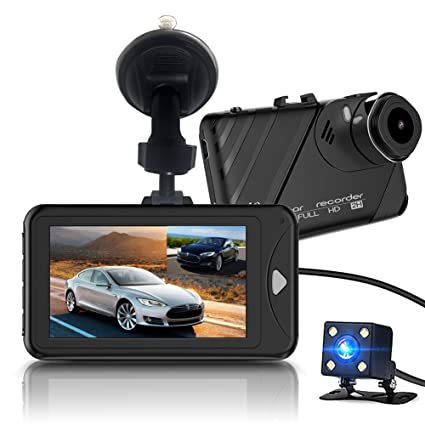 Dash Cam,Bekhic Dash Camera for Cars with Full HD 1080P Front and 720P Rear 290 Degree Super Wide Angle Dual Cameras, 3.0