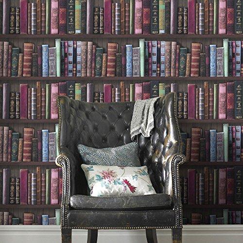 Rasch Book Shelf Pattern Wallpaper Books Case Library Faux