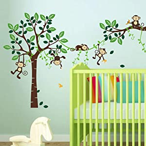 decalmile Monkey Climbing Tree Wall Decals Jungle Animal Kids Wall Stickers Baby Nursery Children Bedroom Playroom Wall Decor (H: 32 Inches)
