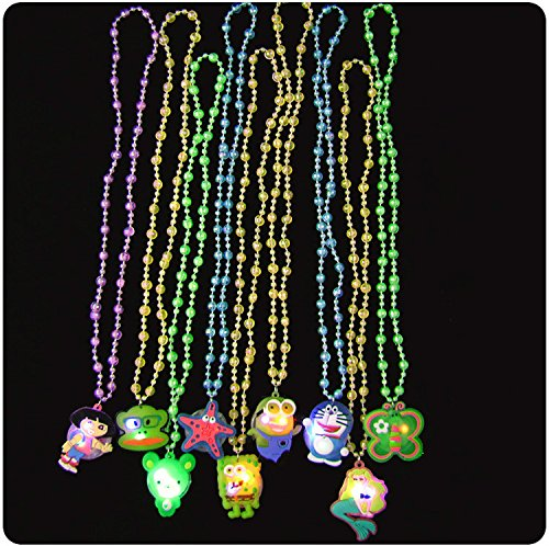 LED Flashing Crystal Necklace - Pack of 12 - Great for Parties and for -