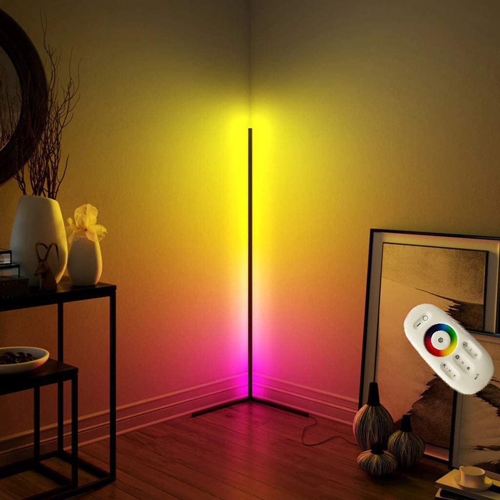 Corner Floor Lamp Nordic Decoration Home Floor Lamps for Living Room Night  Light Dimming Standing Lamp Bedroom Decor Floor Light, RGB Remote Control