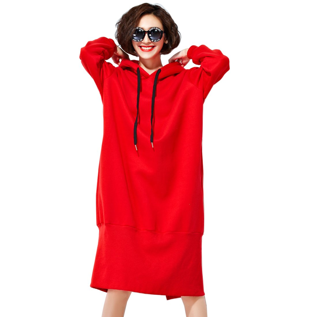 Bestor Fashion Women's Plus Size Loose fit Solid Color Long Sleeve Hoodies Dresses (One Size, Red)