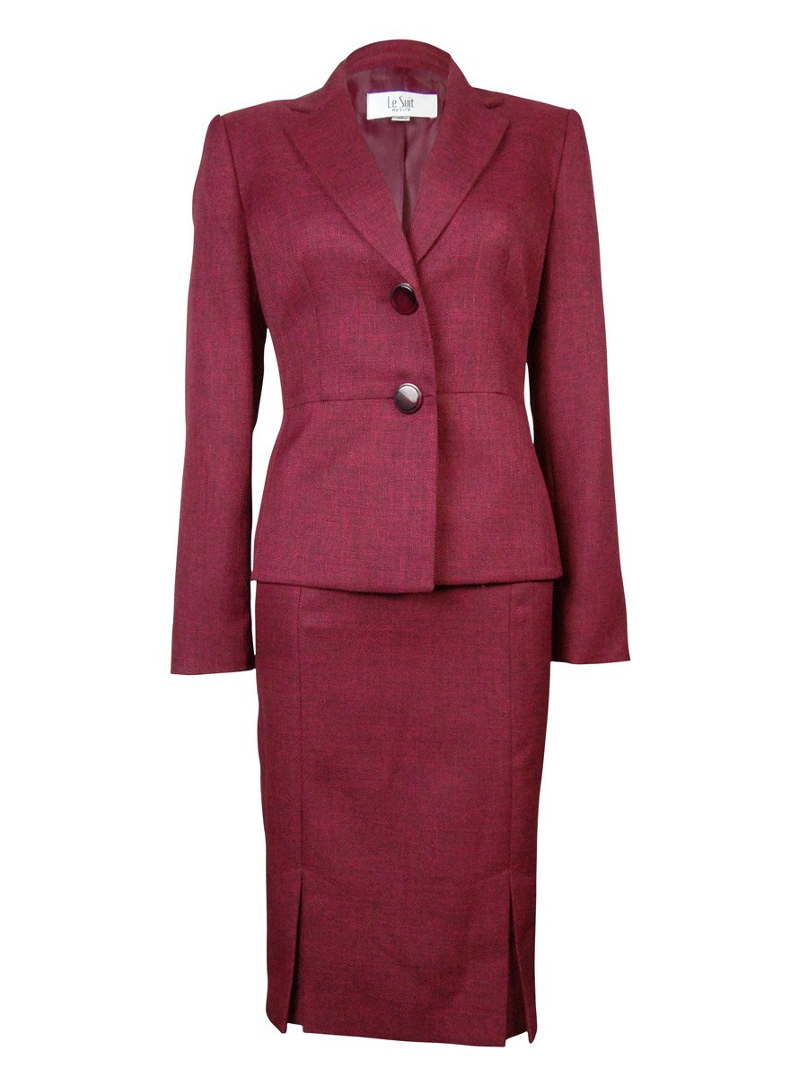 Le Suit Women's St.Tropez Two Button Kick Pleat Tweed Blazer And Skirt Suit Petite 12 Roseberry